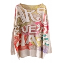 Mural Letter Print Loose Sweater