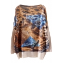 Geometry Color Block Leopard Print Loose Sweater