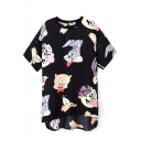 All Over Cartoon Print Funny Style Short Sleeve Dress