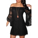Off-the-Shoulder All Over Lace Flare Sleeve Mini Column Dress
