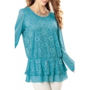 Long Sleeve Lace Insert Top with Gathered Waist and Ruffle Hem