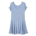 Blue Modal Round Neck Short Sleeve Ruffle Hem Dress