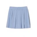 Sky Blue Elastic Waist Pleated A-line Short Skirt
