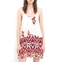 Tribal Print Round Neck Sleeveless Tank Dress