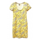 Yellow Tribal Pattern Print Short Sleeve Dress