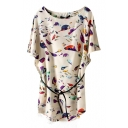 Tie Waist Short Batwing Sleeve Colorful Birds Print Vintage Style Dress