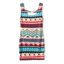Cutout Back Geo-Ethnic Pattern Print Tanks Dress