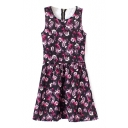 Black Background Pink Rose Print A-line Dress