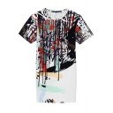 Short Sleeve Unique Graffiti Print Chiffon Slim Dress