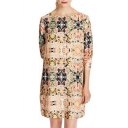 Colorful Painting 3/4 Sleeve Round Neck Dress
