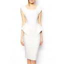 White Round Neck Sleeveless V-Back Ruffle Dress