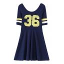 Dark Blue Short Sleeve Stripe&Number A-line Sports Dress