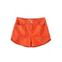 Orange Distressed Plain Loose Shorts
