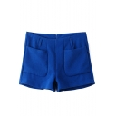 Blue Double Pocket Zip Back Shorts