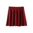 Burgundy Plain High Waist Ruffle Hem Skirt