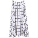 Classic Mono Checker Modern Style A-line Chiffon Skirt