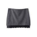 Gray Lace Insert Hem Woolen Pencil Skirt