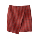 Red Houndstooth Mini Skirt with Asymmetrical Hem