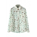 Insect Print Chiffon Long Sleeve Shirt
