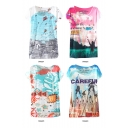 Summer Hot Scenery Print Short Sleeve Tee