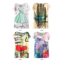 Dress and Graffiti Print Short Sleeve Tunic Tee