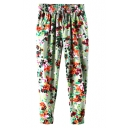 Colorful Print Drawstring Waist Harem Pants