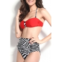 8 Red Zebra Print Halter Tie Back Bikini Set