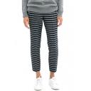 Striped High Waist Casual Crop Pants