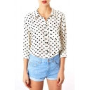 Heart Print Point Collar Long Sleeve Shirt