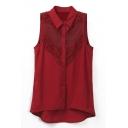 Red Lace Crochet Sleeveless High Low Hem Chiffon Blouse