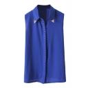 Blue Metal Embellished Sleeveless Chiffon Top