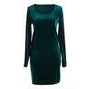 Dark Green Long Sleeve Pleuche Slim Dress