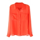 Double Pocket Long Sleeve Chiffon Blouse