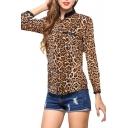 Leopard Stand Collar Black Trim Chiffon Shirt
