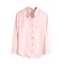 Palin Stand Up Collar Double Pockets Front Chiffon Shirt