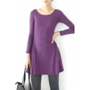 Purple Slim Concise A-line Mini Dress