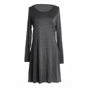 Plain Slim Concise A-line Mini Dress