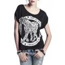 Black Short Sleeve Leopard Letter Print T-Shirt