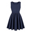 Blue Round Neck Sleeveless Cutout Dress