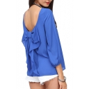 Blue 3/4 Sleeve Bow Back Chiffon Blouse