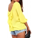 Yellow 3/4 Sleeve Bow Back Chiffon Blouse
