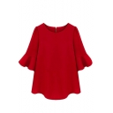Red 1/2 Ruffle Sleeve Loose Chiffon Blouse