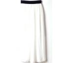 White Elastic Waist Chiffon Maxi Skirt