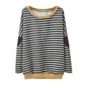 Stripe Print Cloth Patch Round Neck Long Sleeve Sweatshirt