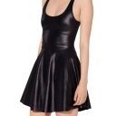 Black Faux Leather A-line Tank Dress