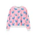 Pink Whale Print Loose Round Neck Long Sleeve Sweatshirt