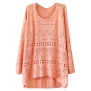 Plain Geometry Cutout Detail Round Neck Knitting Loose Sweater