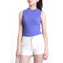 Fitted Plain Round Neck Sleeveless Knit Tank