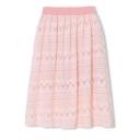Lace Plain Elastic Waist Pleated Midi Skirt