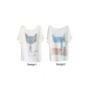 Point Ear Cartoon Cat Print White Tee